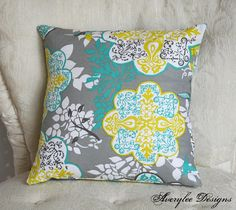 Grey Lace Teal and Yellow Citron Pillow Cover by AveryleeDesigns, $12.00