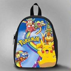 Pokemon and friend rainbow, School Bag Kids, Large Size, Medium Size, Small Size, Red, White, Deep Sky Blue, Black, Light Salmon Color