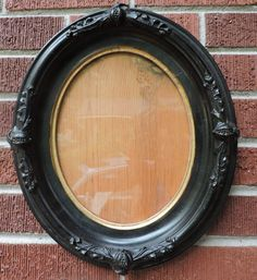 Antique VICTORIAN Ebonized Black POMEGRANATE & Flowers OVAL Frame c1860s 8 x 10 #AestheticMovement #unknown