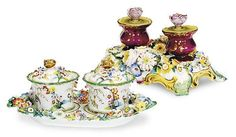 TWO ENGLISH FLOWER ENCRUSTED PORCELAIN INK STANDS,