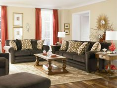 color schemes for living room with red curtain