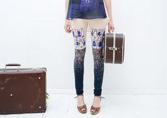 Beige blue purple stocking  leggings by ZIBtextile on Etsy, $45.00