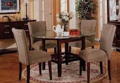 round glass top transitional kingston dining table by acme