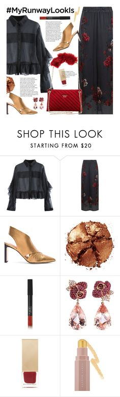 """Untitled #3824"" by beebeely-look ❤ liked on Polyvore featuring Klements, Sigerson Morrison, Pat McGrath, NARS Cosmetics, Anyallerie, Burberry, Puma, floralprint, ruffles and fauxfur"