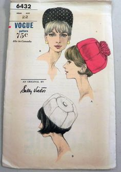 1960s Sally Victor Hat sewing pattern Vogue by retroactivefuture, $35.00