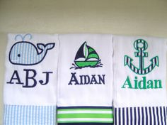 Baby Boy Monogrammed Burp Cloth Set with an Anchor, Sailboat & Whale. $27.00, via Etsy.