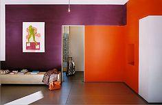 Bold Purple And Orange Walls