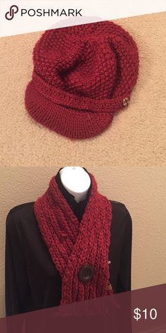 Fossil hat and scarf set Fossil knit hat and scarf in burgundy. Items marked $10 or less, price is firm unless bundled with other items. Fossil Accessories