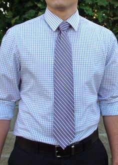 Mixing Patterns for Young Professionals. Purple Tie. Tailored Shirt. Business Attire.
