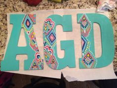 Alpha gamma delta decorated letters!