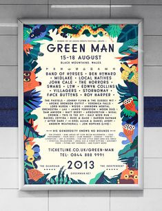 Amazing case study for festival design....including creation of custom font using wood block printing....Green Man Festival poster