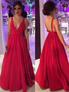 Elegant Red Ball Gown V-neck Satin Floor-length Prom Dress #UKM020104603