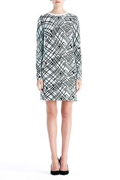 DVF   Jenetta Dress in cable squares blue combo, Resort 2012/13: Zoom