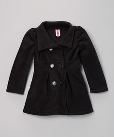 Another great find on #zulily! Black Peacoat - Girls #zulilyfinds