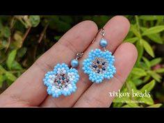Beaded Earrings Patterns, Bead Earrings, Beaded Necklace, Beaded Bracelets, Diy Jewelry Tutorials, Earring Tutorial, Bead Jewellery, Beaded Flowers, Lace Jewelry