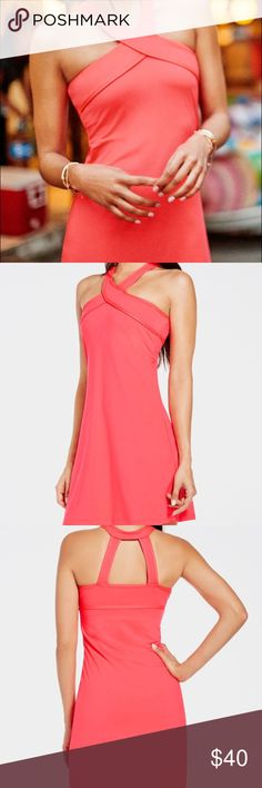 Fabletics Chicago Dress size S Channel your feminine side in a sweat-wicking dress with all-way stretch fabric and a built-in bra. Don't be afraid to pick up your speed: a stylish halter strap will hold you in. Color is Hot Coral size is Small. New without tags. Color is more like stock photos than my photo of the dress. Fabletics Dresses Mini