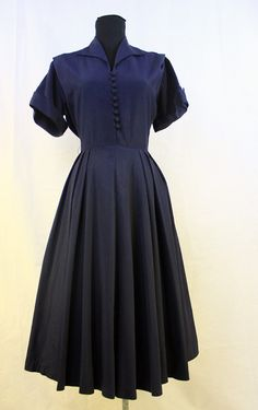 SALE  1940s/1950s Navy Ladylike Day Dress by thepurplegrapefruit, $40.00