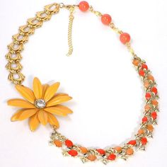 Yellow Statement Necklace, Orange Necklace for Women, Flower Necklace, Bohemian Jewelry, Handcrafted Jewelry, Hippie Necklace, Gift for Mom