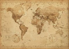 Framed World Map Vintage Dry Mount Poster Rust Wood Framed Perfect for Push Pins Or Tracking Trips Antique World Map, Old World Maps, Antique Maps, Antique Photos, Antique Wood, Old Maps, Antique Prints, Vintage Prints, Framed World Map