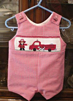 smocked romper firetruck size 12 mos ready ship  by SmockedBeauties on etsy.com $55.00
