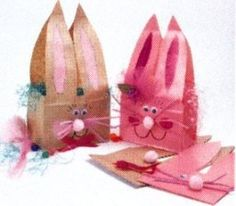 Easy Easter paper basket from lunch bag - doing this for my 3 year olds Easter party! im going to let them color and design their own bag first, then ill glue on the bunny face to make it look realistic!