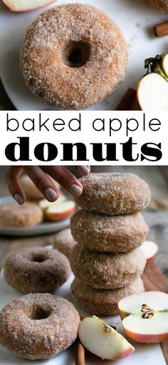 Soft pillowy inside, sweet crunchy outside, these Cinnamon Sugar Baked Apple Donuts are easy and delicious for breakfast or dessert! Apple Donut Recipe, Baked Donut Recipes, Baked Doughnuts, Cinnamon Donuts, Fresh Donuts Recipe, Apple Baking Recipes, Cake Donut Recipe Baked, Apple Recipes Easy, Köstliche Desserts