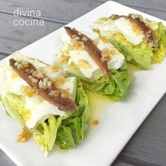 Garlic lettuce buds with anchovies Finger Food Appetizers, Best Appetizers, Tapas, Sardine Recipes, Brunch, Good Healthy Recipes, Light Recipes, Salad Recipes, Entrees