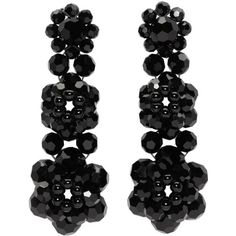 Simone Rocha Black Perspex Three Tier Drop Earrings (€300) ❤ liked on Polyvore featuring jewelry, earrings, black, simone rocha earrings, lucite drop earrings, beading jewelry, acrylic jewelry and simone rocha