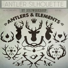"""Antlers clipart deers clip art """"Antler Silhouettes and Elements"""" a set of different deer antlers and other decorative and Christmas items"""