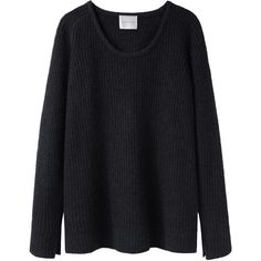 La Garçonne Moderne Malin Merino Cashmere Pullover (550 CAD) ❤ liked on Polyvore featuring tops, sweaters, shirts, jumpers, crew-neck sweaters, cashmere crewneck sweater, black sweater, merino wool shirt and fuzzy sweater