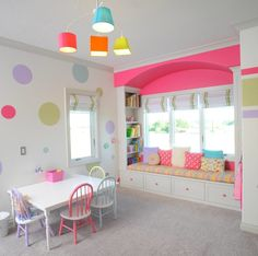 Fun and Creative Kids Playroom Ideas: Playroom Wall Decor For Kids Playroom With Interior Paint Color And Roman Shades Also Spindle Chairs With Playroom Furniture And Window Seating With Bench Cushion Plus Playroom Shelves