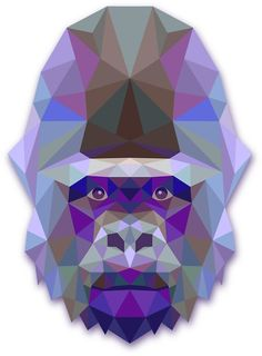 'Geometric gorilla' Sticker by Quilting, Stickers, Iphone, Cool Stuff, Tattoos, Table, Prints, Top, Animals