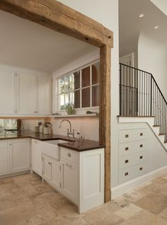 Cabinets under stairs - Lyme Hills - mediterranean - kitchen - bridgeport - Christopher R. Küchen Design, Design Case, House Design, Design Ideas, Rustic Design, Steps Design, Farmhouse Kitchen Cabinets, Rustic Kitchen, Kitchen Small