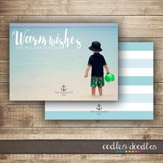 Nautical Christmas Card, Printable Personalized Photo Holiday Card by OandD | Oodles and doodles | Beach Christmas Card | Christmas on the Beach