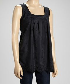 Look what I found on #zulily! Black Pleated Tank by Art & Soul #zulilyfinds