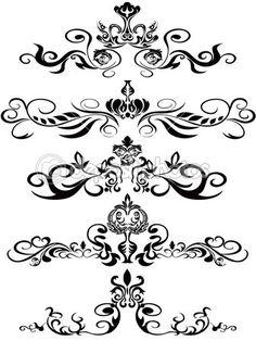 Schwarze Blumenornamente — Stockilllustration #5286548