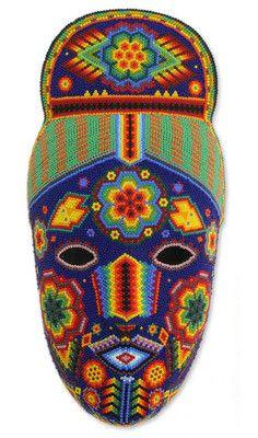 LIFE LUCK SUCCESS HUICHOL BEADWORK HAND BEADED MASK Mexico Folk Wall Decor ART