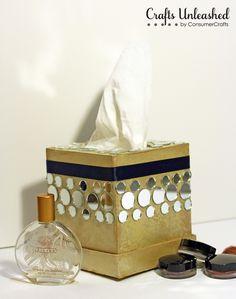 DIY Mirrored Tissue Box Holder