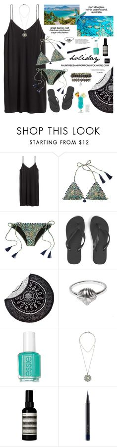 """""""I'm on Holiday (Vacation) / H&M Short Jersey Dress"""" by palmtreesandpompoms ❤ liked on Polyvore featuring H&M, Victoria's Secret, Havaianas, The Beach People, Midsummer Star, Bettina Duncan, Aesop, MAC Cosmetics and Samantha Wills"""
