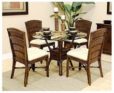 Dining Set in Antique Brown (Tropic Tobacco) Luxury Appliances, Furniture Placement, Wicker Table And Chairs, Small Furniture, Apartment Appliances, Dinette Sets, Furniture Plans, Distressed Furniture, Furniture