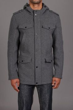 Black Rivet 6 Pocket Mid Length Wool Coat With Hood