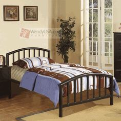 Poundex Kids black metal bed frame w/ 15 slats Stylish yet functional kids Twin Size Bed Frame, King Bed Frame, Black Metal Bed Frame, Metal Platform Bed, Kids Bedroom Sets, Bedroom Ideas, Bedroom Decor, Metal Beds, Full Bed