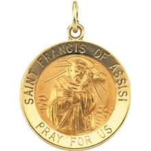 14k yellow gold stancis of assisi medal pendant pendants st francis of assisi round yellow gold pendant all patron saints aloadofball Gallery
