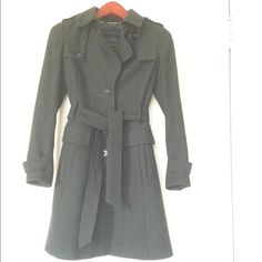 Banana Republic dark green/grey long peacoat Banana Republic pea coat is dark green/grey, shell is 87% wool (Italian fabric), length grazes just above knees. Dry clean only. Only worn once, bought XS which does not fit me anymore. Banana Republic Jackets & Coats Pea Coats