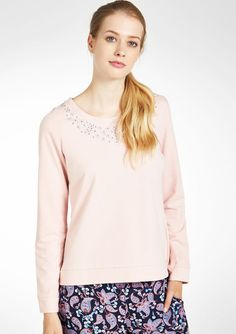 Plain sweat with studs details - SUGAR PINK - 03000576_1346