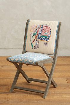 Elephant Appliqué Terai Folding Chair - anthropologie.com