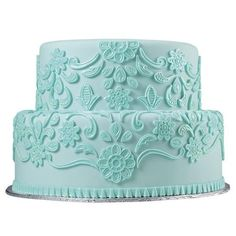 Lovely Lace Fondant Cake ❤ liked on Polyvore featuring food, cakes, wedding, food and drink and fillers