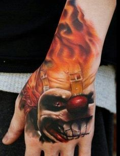 Now this one looks good..Great flames on this clown tattoo