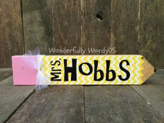 Personalized Pencil Teacher Nameplate on Etsy, $12.00