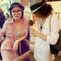 New Fashion Women's Girl Long Sleeve Chiffon blouse Loose Tops 2Colors